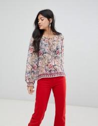 Raga Victoria Printed Tassle Front Blouse - Pink