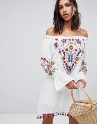 Raga Wild flower Embroidered Off Shoulder Dress - White