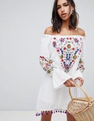 Raga Wild flower Embroidered Off Shoulder Dress - White
