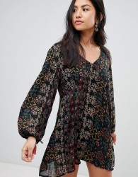Raga Yasmin Printed Long Sleeved Dress - Black