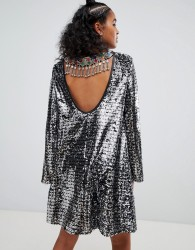 Ragyard swing dress in sequin with gemstone back trim - Silver