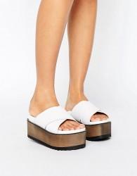 RAID Alaska White Cross Strap Flatform Sandals - White