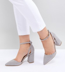 RAID Wide Fit Katy Light Grey Block Heeled Shoes - Grey