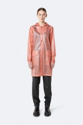 Rains Dame Transparent Hooded Coat - FoggyCoral