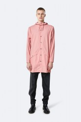 Rains Herre Long Jacket - Coral