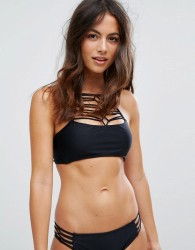 Raisins Macrame High Neck Bikini Top - Black