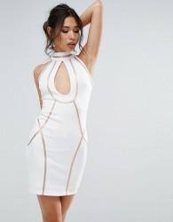 Rare Contrast Lining Mini Dress - White