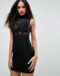 Rare High Neck Lace Bodycon Dress - Black