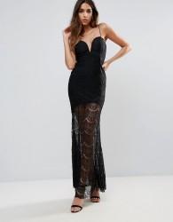 Rare Lace Illusion Plunge Maxi Dress - Black