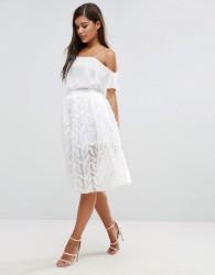 Rare London 3D Floral Mesh Prom Skirt - Cream