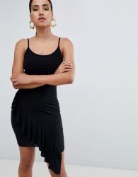 Rare London asymmetric frill hem mini dress - Black