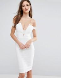 Rare London Bardot Cross Strap Midi Dress - White
