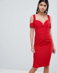 Rare London bardot knot sleeve dress - Red