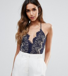 Rare London Body With Scallop Lace Bodice - Navy