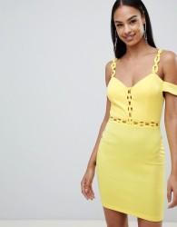 Rare London chain trim bardot bodycon dress - Yellow