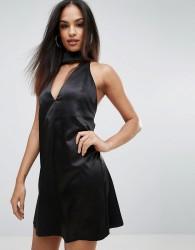 Rare London Choker Neck Skater Dress - Black