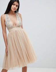 Rare London embellished plunge tutu dress - Cream