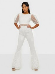 Rare London Embroidered Mesh Jumpsuit Jumpsuits