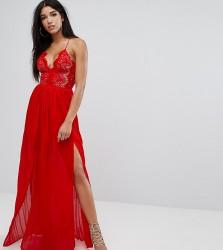 Rare London Eyelash Plunge Double Side Split Maxi Dress - Red