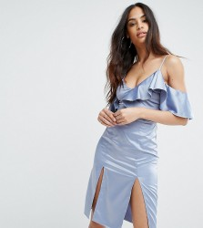 Rare London Frill Detail Dress With Double Thigh Split - Blue