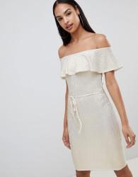 Rare London frill top metallic bardot midi dress - Cream