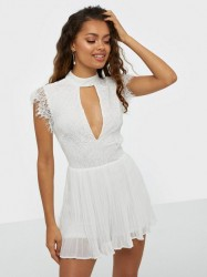 Rare London High Neck Lace Pleated Playsuit Playsuits