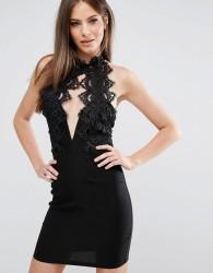 Rare London High Neck Plunge Lace Mini Dress - Black