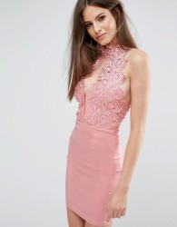 Rare London High Neck Plunge Lace Mini Dress - Pink
