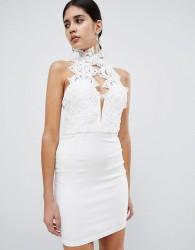 Rare London high neck plunge lace mini dress - White