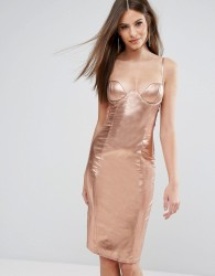 Rare London High Neck Plunge Midi Dress In High Shine - Gold