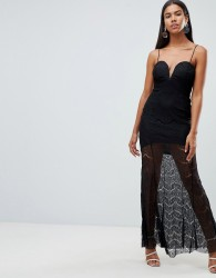 Rare London lace illusion plunge maxi dress - Black