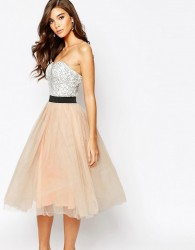 Rare London Lace Prom Midi Dress With Tulle Skirt - Multi