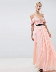 Rare London lace top contrast skirt maxi dress - Pink