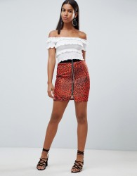 Rare London leopard printed zip printed zip front mini skirt - Red