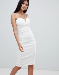 Rare London multi cross strap midi dress - White