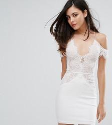 Rare London Off Shoulder Mini Bodycon Dress In Scallop Lace - White