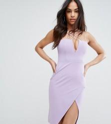 Rare London Plunge Pencil Dress with Strap Detail - Purple