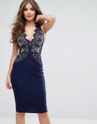 Rare London Plunge Scallop Lace Midi Dress - Navy
