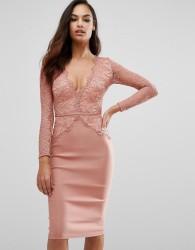 Rare London Plunge Scallop Lace Midi Dress - Pink