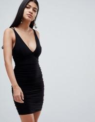 Rare London ruched side cross back mini dress - Black
