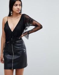 Rare London ruffle detail asymmetric bodysuit - Black