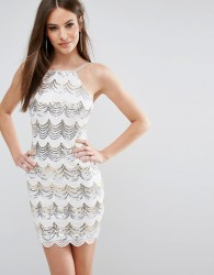 Rare London Scallop Sequin Bodycon Dress - White