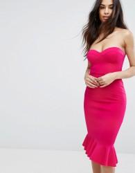 Rare London Sweetheart Pencil Dress With Frill Hem - Pink