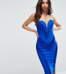Rare London Sweetheart Pencil Dress With Fringing - Blue