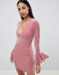 Rare London velvet stripe flute sleeve dress - Pink