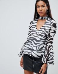 Rare London zebra choker detail blouse - Black