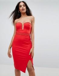 Rare Plunge Midi Bodycon Dress - Red