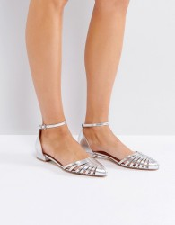 Ravel Cut Out Flat Point Shoe - Silver