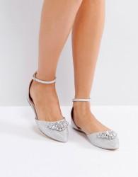 Ravel Jewel Trim Point Flat Shoe - Silver