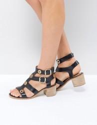Ravel Stud Leather Mid Heel Sandal - Black
